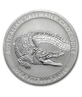 1 x 1 Oz Silber Salzwasser Krokodil 2014*