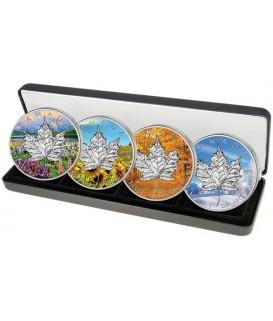 4 x 1 Oz Silber Maple Leaf 2013-Jahreszeiten-color*