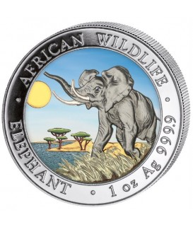 1 x 1 Oz Silber Somalia Elefant 2016-color*