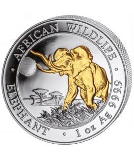 1 x 1 Oz Silber Somalia Elefant 2016-teilvergoldet*