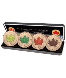 4 x 1 Oz Silber Maple Leaf 2016-Jahreszeiten-color*