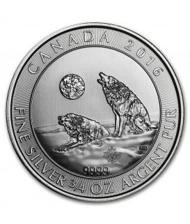 1 x 3/4 Oz Silber Heulende Wölfe Kanada 2016*