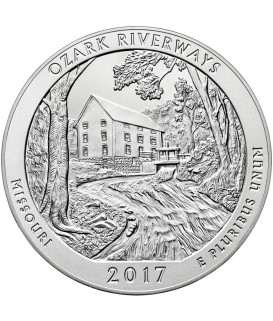 1 x 5 Oz Silber America the Beautiful Ozark Riverways 2017*