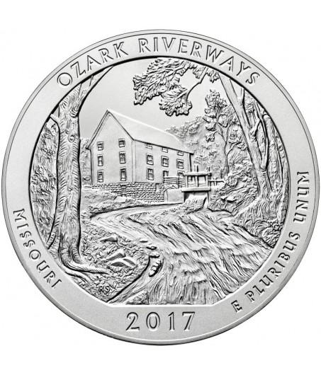 1 x 5 Oz Silber America the Beautiful Ozark Riverways 2017*