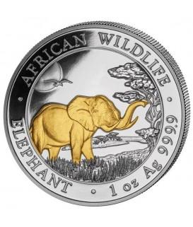 1 x 1 Oz Silber Somalia Elefant 2019-teilvergoldet*