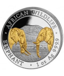 1 x 1 Oz Silber Somalia Elefant 2020-teilvergoldet*