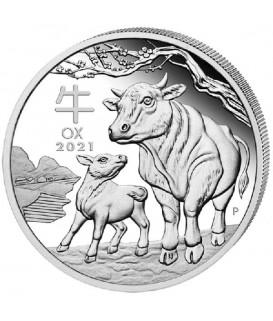 1 x 1 Oz Silber Lunar III Ochse 2021*
