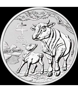 1 x 1/2 Oz Silber Lunar III Ochse 2021*