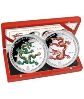 2 x 1 Oz Silber Drache 2012 coloriert
