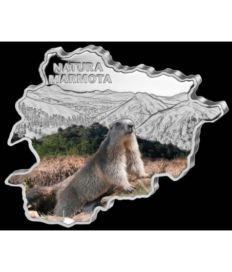1 x 1 Oz Silber Andorra Wildlife Murmeltier color