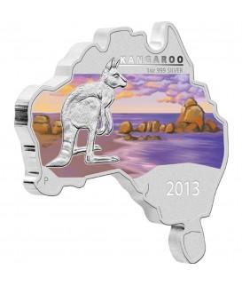 1 x 1 Oz Silber Australian Kangaroo color