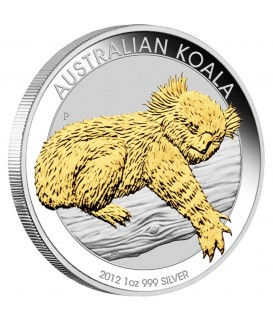 1 x 1 Oz Silber Australian Koala teilvergoldet 2012