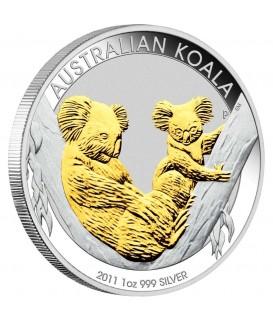 1 x 1 Oz Silber Australian Koala teilvergoldet 2011