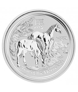 1 x 1 Oz Silber Lunar II Pferd 2014