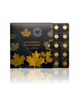 25 x 1 g Gold Maple Leaf - Maplegram