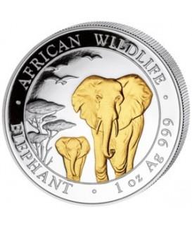 1 x 1 Oz Silber Somalia Elefant 2015-teilvergoldet