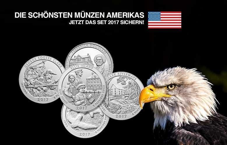 Silbermünzen 5 Unzen Set 2017 America the Beautiful von der US Mint